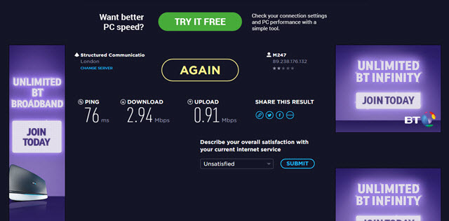 cyberghost Pro speed test